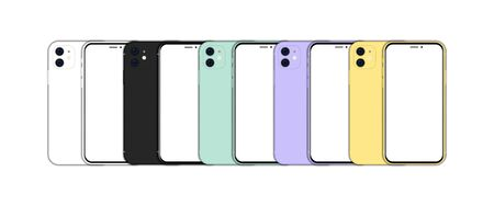 Big set of different smartphone with blank screen. Front and back view