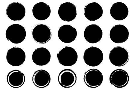 Set of hand drawn grunge black ink circle. Vector illustration Illustration