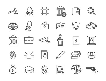 Set of linear jurisprudence icons. Law icons in simple design. Vector illustration Ilustração