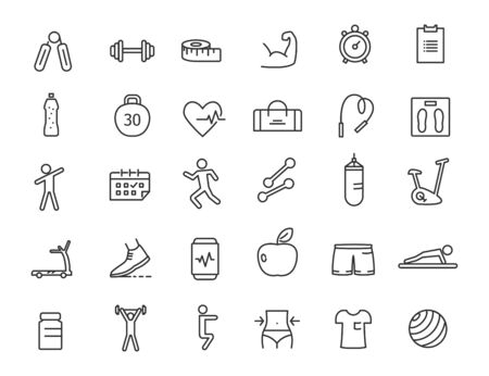 Set of linear fitness icons. GYM icons in simple design. Vector illustration Illusztráció