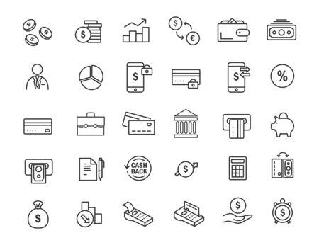 Set of linear banking icons. Finances icons in simple design. Vector illustration Illusztráció