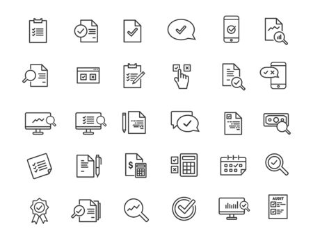 Set of linear audit icons. Inspection icons in simple design. Vector illustration Stok Fotoğraf - 131835955