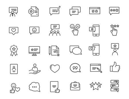 Conjunto de iconos de retroalimentación lineal. Iconos de satisfacción del cliente en un diseño sencillo. Ilustración vectorial Ilustración de vector