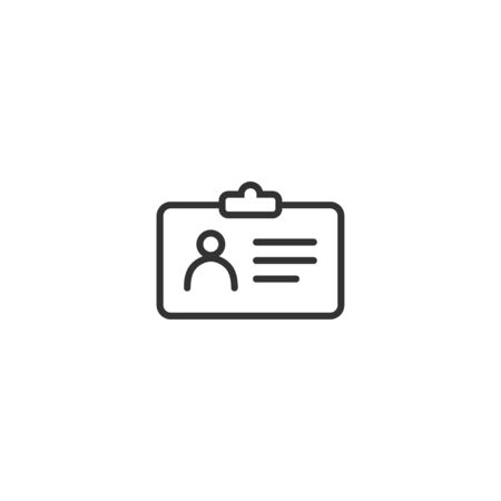 ID card line icon in simple design on a white background