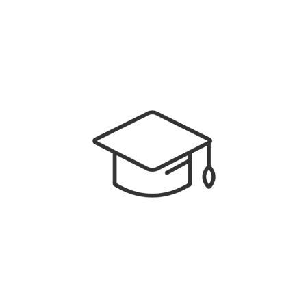 Icono de línea de gorra de sombrero de graduación en un diseño simple sobre un fondo blanco.