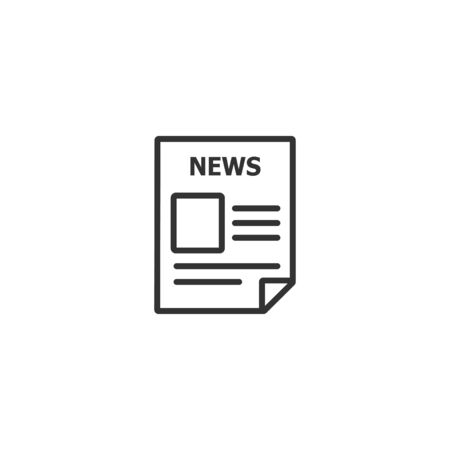 Newspaper line icon in simple design on a white background Иллюстрация