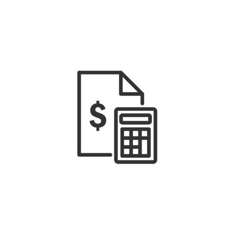 Money document with calculator line icon in simple design on a white background Фото со стока - 131836656