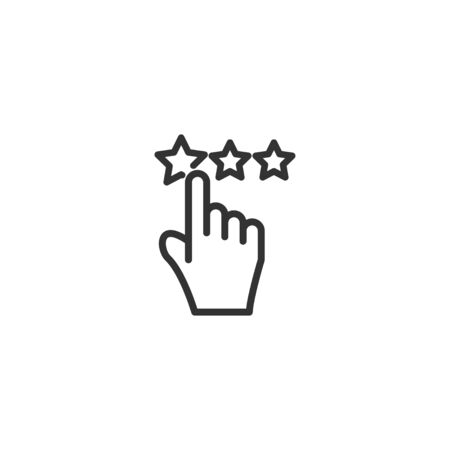 Customer satisfaction line icon in simple design on a white background Çizim