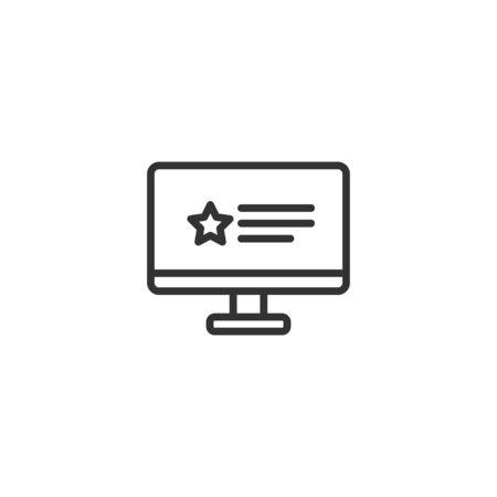Feedback in monitor line icon in simple design on a white background