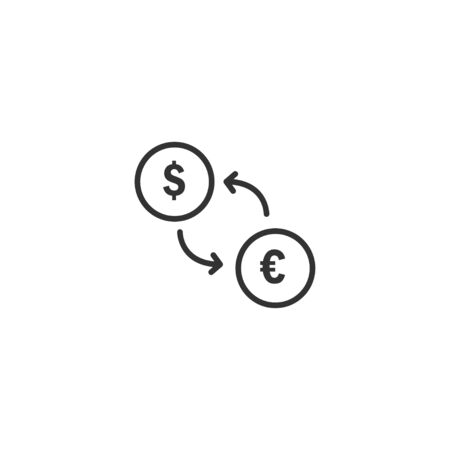 Currency exchange line icon in simple design on a white background Ilustrace