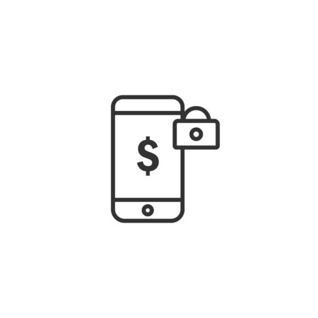 Mobile payment protection line icon in simple design on a white background