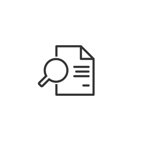 Document with magnifying glass line icon in simple design on a white background 일러스트