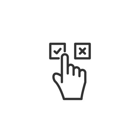 Hand click in check or cross line icon in simple design on a white background