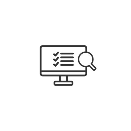 Audit in monitor line icon in simple design on a white background Ilustração
