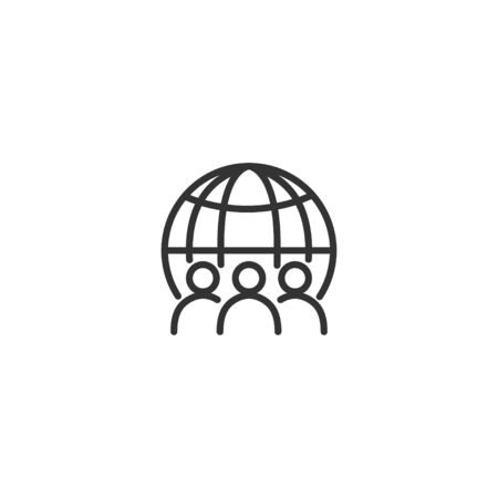 Global business line icon in simple design on a white background