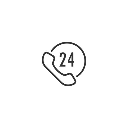 24h support line icon in simple design on a white background Çizim