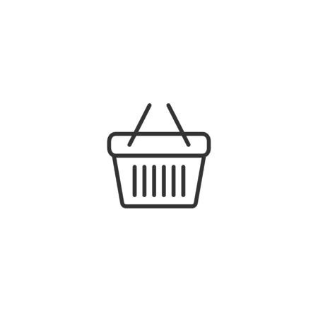 Shopping basket line icon in simple design on a white background