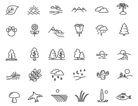 Set of linear nature icons. Landscape icons in simple design. Vector illustration