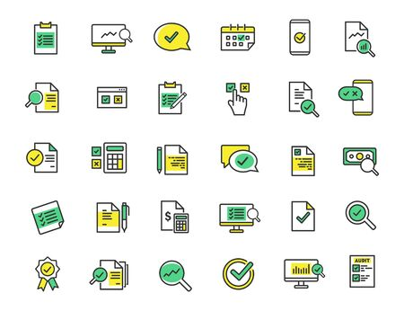 Set of linear audit icons. Inspection icons in simple design. Vector illustration