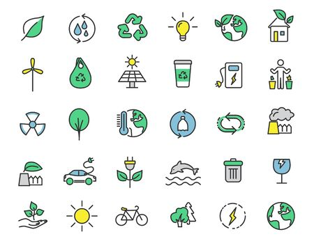 Set of linear ecology icons. Environment icons in simple design. Vector illustration