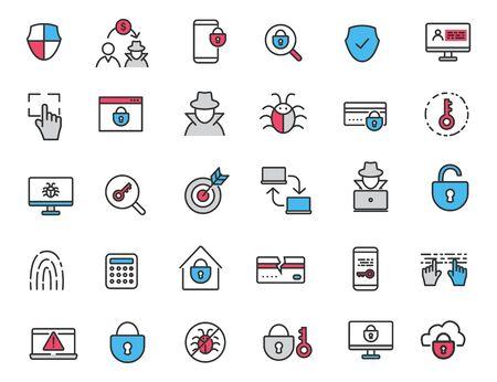 Set of linear criminal icons. Security icons in simple design. Vector illustration Reklamní fotografie - 136598171