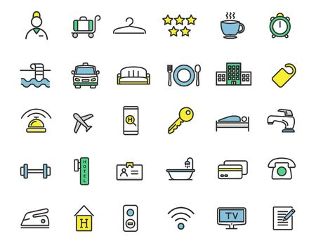 Set of linear hotel icons. Travel icons in simple design. Vector illustration