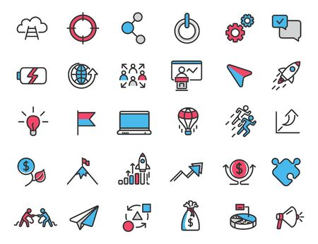Set of linear startup icons. Career icons in simple design. Vector illustration