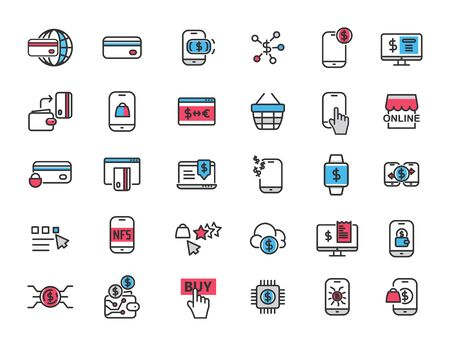 Set of linear online payment icons. Online bank in simple design. Vector illustration