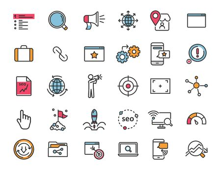 Set of linear seo icons. Promotion icons in simple design. Vector illustration Ilustrace