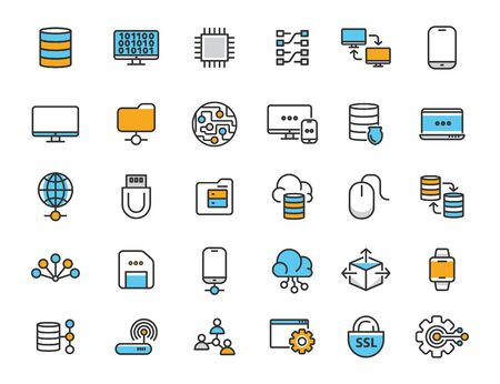 Set of linear computer technology icons. Database icons in simple design. Vector illustration