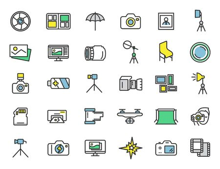Set of linear photo studio icons. Photographer icons in simple design. Vector illustration