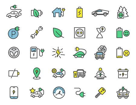 Set of linear electric car icons. Chrager station icons in simple design. Vector illustration