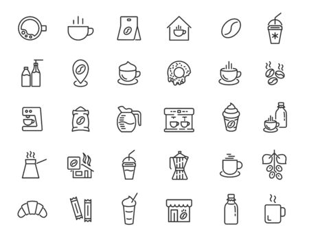Set of linear coffee house icons. Coffee drink icons in simple design. Vector illustration Ilustrace