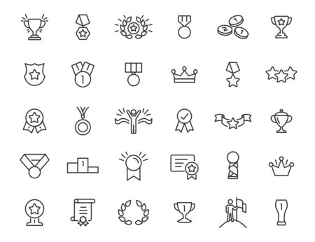 Set of linear trophy icons. Award icons in simple design. Vector illustration