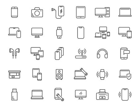 Set of linear electronics icons. Computer technology icons in simple design. Vector illustration Ilustrace