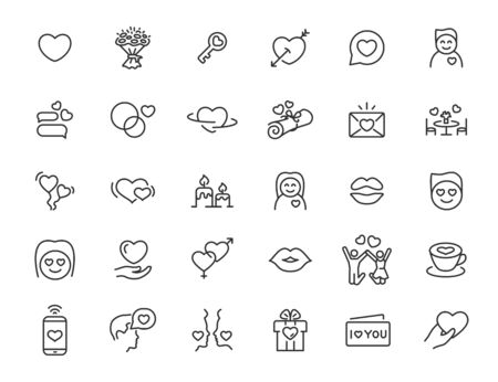 Set of linear love icons. Relationship icons in simple design. Vector illustration Ilustrace