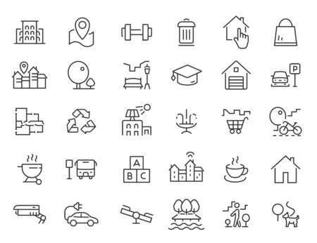Set of linear residential complex icons. Infrastructure icons in simple design. Vector illustration Reklamní fotografie - 138812232