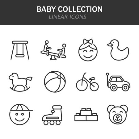 Baby collection linear icons in black on a white background