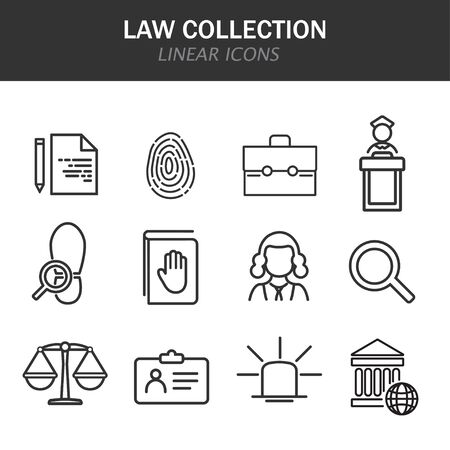 Law collection linear icons in black on a white background Stock Illustratie