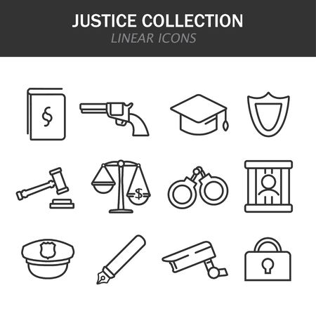 Justice collection linear icons in black on a white background