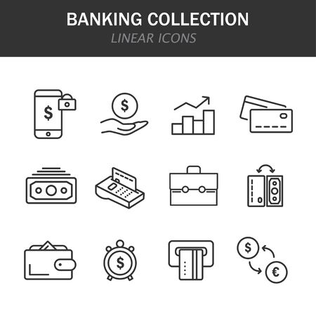 Banking collection linear icons in black on a white background