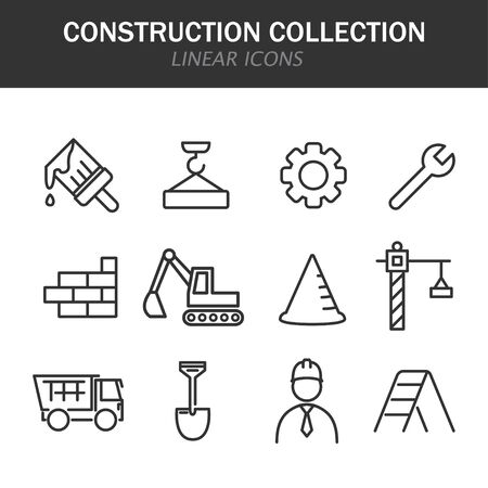 Construction collection linear icons in black on a white background