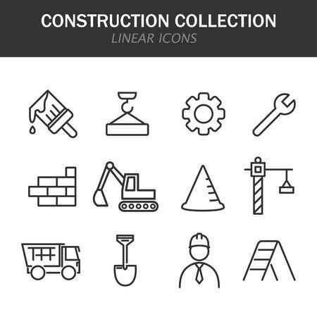 Iconos lineales de colección de construcción en negro sobre fondo blanco