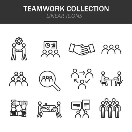 Teamwork collection linear icons in black on a white background