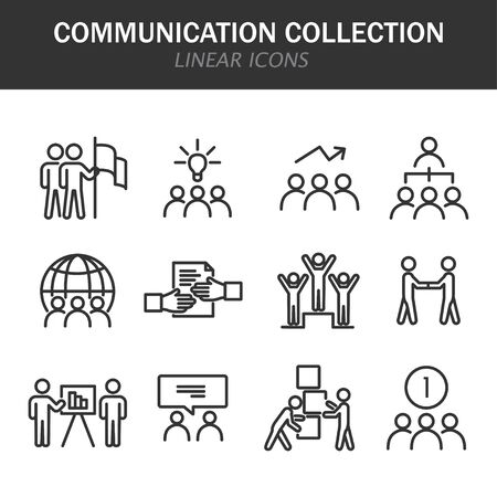 Communication collection linear icons in black on a white background