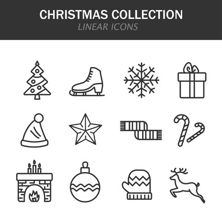Christmas collection linear icons in black on a white background