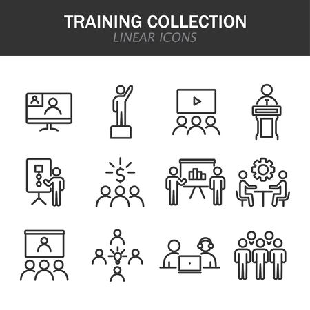 Training collection linear icons in black on a white background