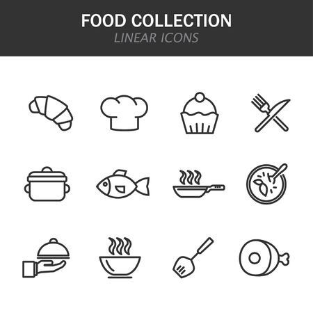 Food collection linear icons in black on a white background Ilustracja