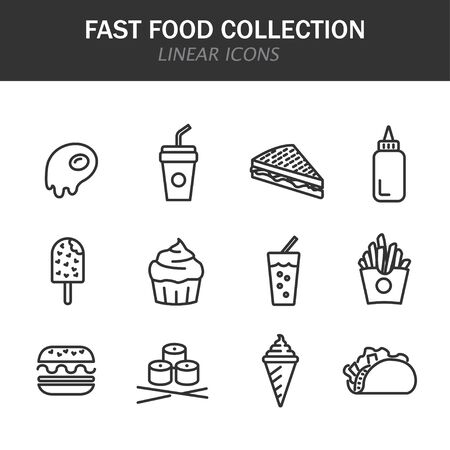 Fast food collection linear icons in black on a white background Vettoriali