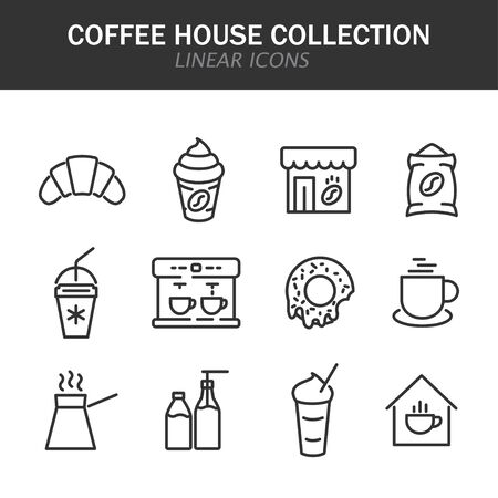 Coffee house collection linear icons in black on a white background